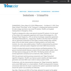 Trina Solar Launches New Smart PV Solution - TrinaPro