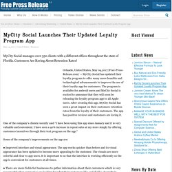 MyCity Social Launches Their Updated Loyalty Program App