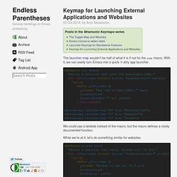 Emacs Keymap for Launching External Applications and Websites