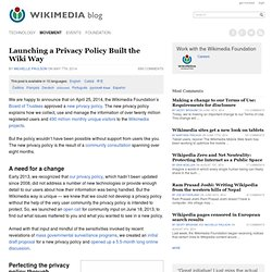Launching a Privacy Policy Built the Wiki Way « Wikimedia blog