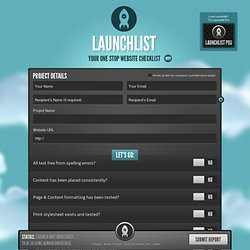 Launchlist - Your one stop website checklist!