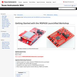 Getting Started with the MSP430 LaunchPad Workshop