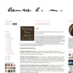 Laura L. M.: Naming Your Novel