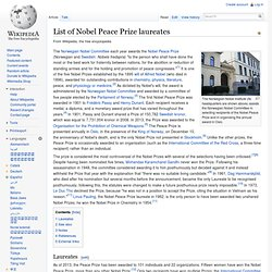 List of Nobel Peace Prize laureates - Wikipedia, the free encycl