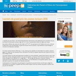 Lauréats du grand prix des jeunes lecteurs 2016 - PEEP