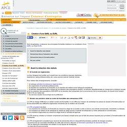 Création d'une SARL ou EURL - APCE, agence pour la création d'entreprises, création d'entreprise, créer sa société,l'auto-entrepreneur, autoentrepreneur, auto-entrepreneur, auto entrepreneur, lautoentrepreneur, reprendre une entreprise, aides à la créati