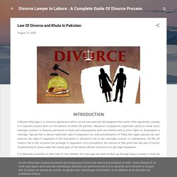 Law Of Divorce and Khula In Pakistan