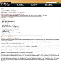 How To Do Legal Research - Nolo