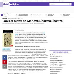 Laws of Manu or 'Manava Dharma Shastra'