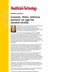 Lawson, Telus, Infoway partner on app for mental health