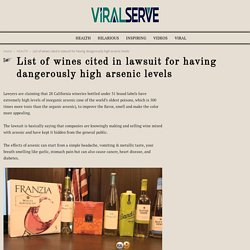 List of wines cited in lawsuit for having dangerously high arsenic levels - ViralServe