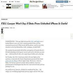 F.B.I. Lawyer Won't Say if Data From Unlocked iPhone Is Useful