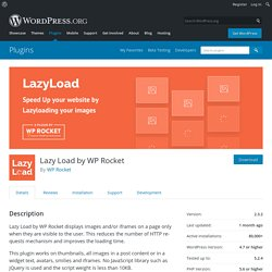 Lazy Load by WP Rocket – WordPress plugin