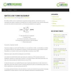 Que és el LCOE y como calcularlo? - Autoconsumamos