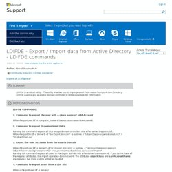 LDIFDE - Export / Import data from Active Directory - LDIFDE commands