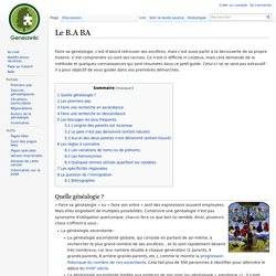 Le B.A BA — GeneaWiki