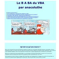 Le B A BA du VBA