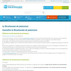Le Bicarbonate de potassium