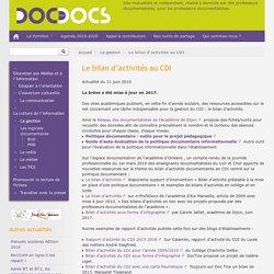 Le bilan d'activités au CDI