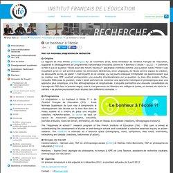 Le bonheur à l'école — Site de l'Institut Français de l'Education