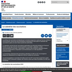 Le calendrier des vaccinations