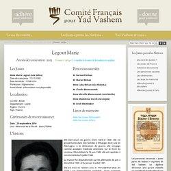 Marie Legout. Sauvetage Loiret. Fiche YV