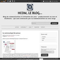 Le communiqué de presse - HcoM, le Blog...