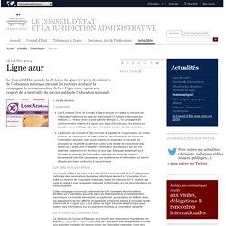 15/10/2014 Conseil d'État désavoue V.Peillon