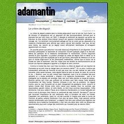 Le critère de dégoût - Adamantin