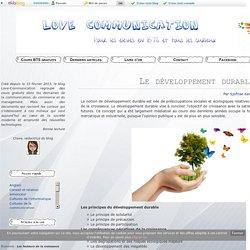 Le développement durable - Love Communication : Cours BTS Gratuit