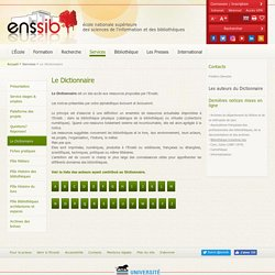 Le Dictionnaire ENSSIB