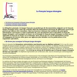 Le français langue étrangère
