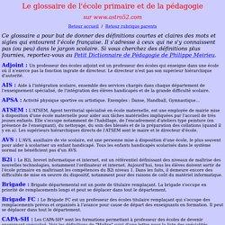 Le glossaire de l'école et la pédagogie
