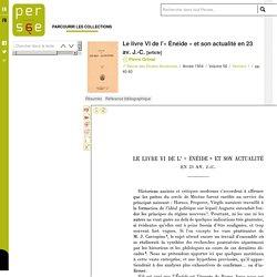 Le livre VI de l'« Énéide » et son actualité en 23 av. J.-C.
