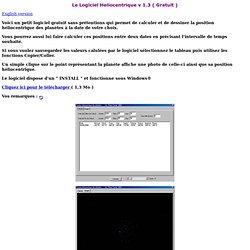 Le logiciel Heliocentrique v 1.3