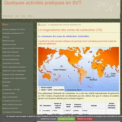 Le magmatisme des zones de subduction (TS)