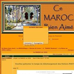 1932 - Le MAROC en 1932