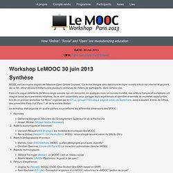 Le MOOC 2013 - Paris - Mai 2013