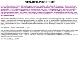 LE NÉO-BEHAVIORISME