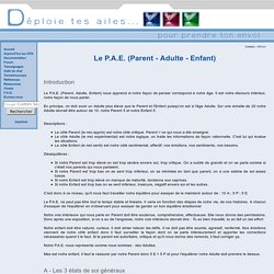 Le P.A.E. (Parent - Adulte - Enfant)