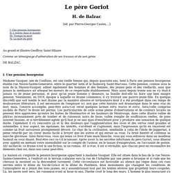 Le p re Goriot - Honor de Balzac