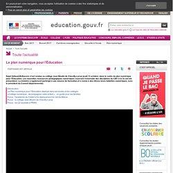 Le plan numérique pour l'Éducation