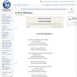 Le Pont Mirabeau - texte