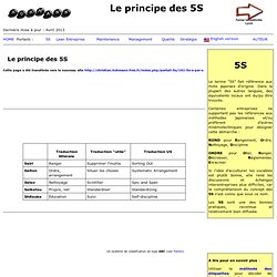 Le principe et la mise en oeuvre des 5S