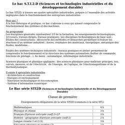 Le programme du bac STI2D