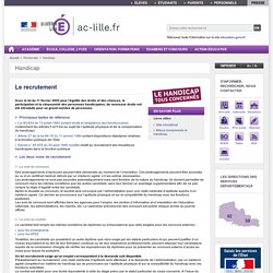 Le recrutement - Académie de Lille