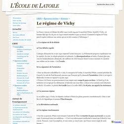 Le régime de Vichy - L'École de Latoile