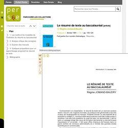 Réflexion didactique et pédagogique sur le résumé de texte (1991)