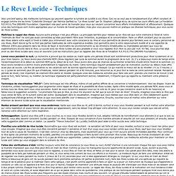 Le Reve Lucide - Techniques