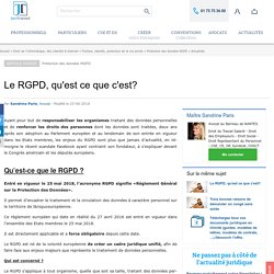 Le RGPD, qu'est ce que c'est?